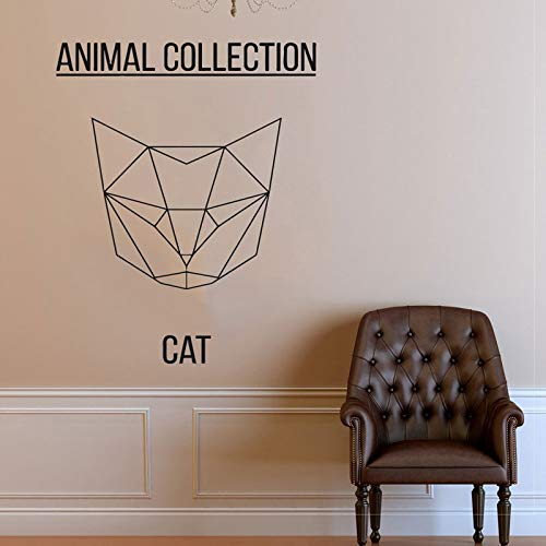Geometrische kat hoofd vinyl sticker sticker abstracte kat muur sticker kunst kat meme dier kunst huisdier muur sticker 47x42cm