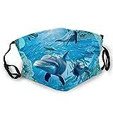 DPQZ Verstellbarer Mundschutz Delphin unter Wasser, Anti-Staub, Erwachsene, bequem, halbes Gesicht, für Männer und Frauen