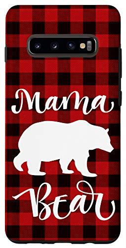 Galaxy S10+ Cute Mama Bear Buffalo Black and Red Plaid Case