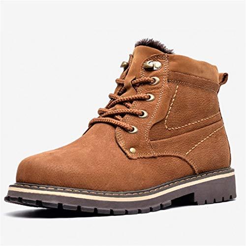 Jancerkmou Botas de Invierno de Cuero para Hombre Zapatos de Invierno Hechos a Mano cálidos de Cuero de Grano Completo para Hombre Brown 50