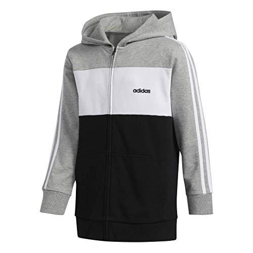 adidas Boys' Big Zip Front Hooded Jacket, Grey Heather, X-Large