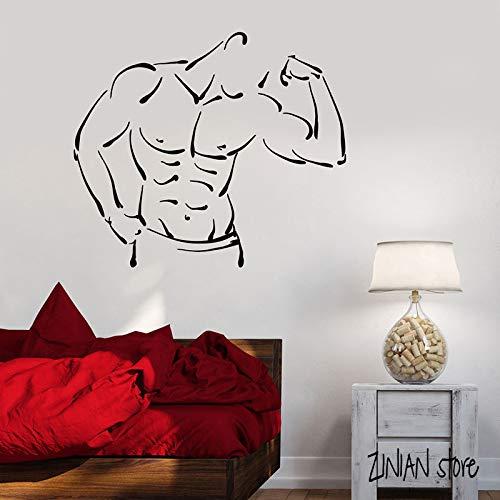 Tianpengyuanshuai Fitness Wandtattoo Bodybuilding Muskel Wandaufkleber Fitnessstudio Abnehmbare Kunst 63X72cm