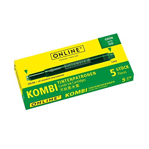 Online Schreibgeräte 17144/12 - Cartuchos combi para pluma estilográfica, color verde
