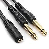 NANYI オーディオケーブル 3.5mm to 6.35mm 変換ステレオミニプラグ 2分配 trs ケーブル オス-メス HIFI スマートフォン PC CDプレーヤー スピーカー アンプ等に適用 1.5m