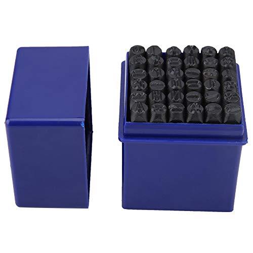 Wakects Briefstempel aus Stahl, Set mit Briefmarken, aus Karbonstahl, 36 Stück, 6 mm für Papier