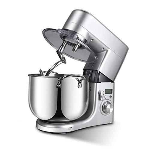 MIJOGO Küchenmaschine Knetmaschine 10L Reduzierte Geräusche Knetmaschine mit LED Display, Rührbesen, Knethaken, Schlagbesen, Spritzschutz, 6 Geschwindigkeit mit Edelstahlschüssel Teigmaschin