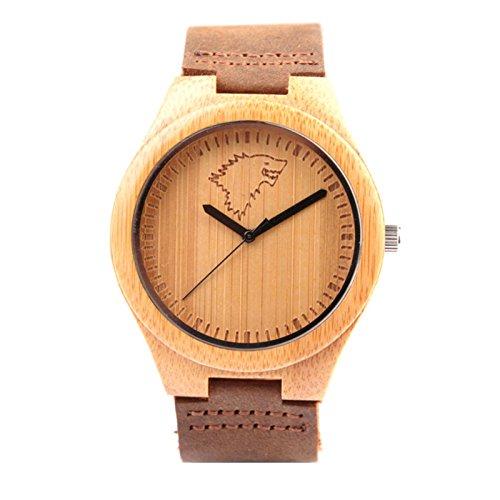 Kim Johanson Herren Bambus-Holz Armbanduhr *Wild Wolf* in Braun mit Echtem Lederarmband Handgefertigt Quarz Analog Uhr inkl. Geschenkbox
