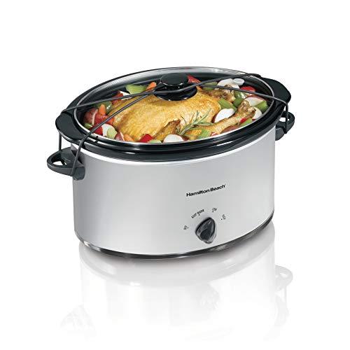 Hamilton Beach 7 Qt. Portable Slow Cooker Serves 8+, Dishwasher Safe Crock, Lid Latch Strap for Travel, Brushed Silver (33176), 7 Quart