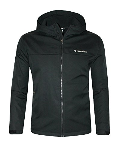 Columbia Lucky Find Soft Shell Men's Hooded Full Zip Spring/Fall Water Resistant Jacket (XL, Black)