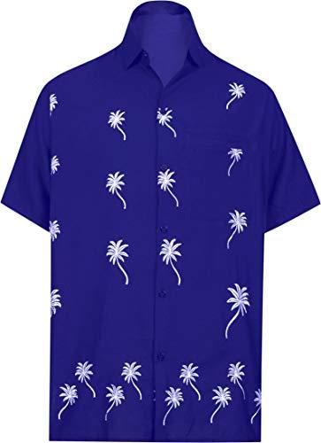 LA LEELA männer Hawaiihemd Kurzarm Button Down Kragen Fronttasche Beach Strand Hemd Manner Urlaub Casual Herren Aloha Königsblau_80 M Viskose einfach