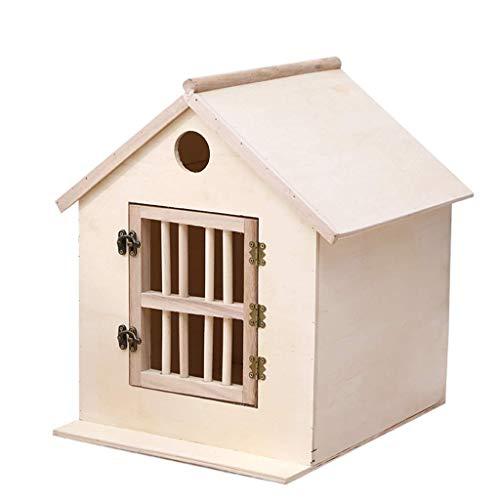 SONGYU Perrera Casa de Madera para Perros pequeños Casa cálida para Interiores para Gatos Suministros para Mascotas Caja de Nido para incubar Palomas Regalo (Color: Natural, Tamaño: 30x35x40cm)