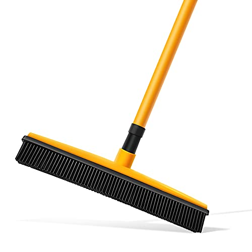 Pet Hair Removal Broom for Carpet ,PARSMARDO Cleaning Broom with Squeegee for Dogs Cat ,Soft Rubber Broom for Hardwood Floor and Tile Windows Clean.