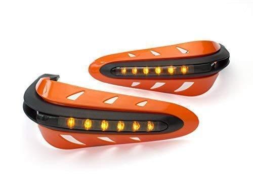 Arancione Integrato Quad Moto Bicicletta LED Paramani Protezioni Costruito in Indicatori