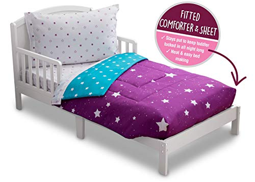Toddler Bedding Set | Girls 4 Piece Collection | Fitted Sheet, Flat Top Sheet w/ Elastic bottom, Fitted Comforter w/ Elastic bottom, Pillowcase | Delta Children | Girls Starry Night | Purple Stars