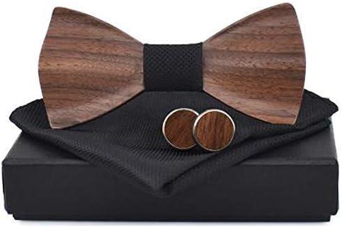 Urns Ashes Funeral 3D Wooden Tie Square Cufflinks Fashion Wooden Bow Tie Wedding Handmade Wooden Tie Set M162-106 Pet Memorial Dog cat Urn