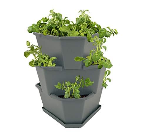 Paul Potato Starter Kartoffelturm - stapelbar - Hochbeet/Pflanzgefäß/Blumentopf für Balkon, Garten und Terrasse (3 Etagen, Anthrazit/Grau) inkl. Untersetzer