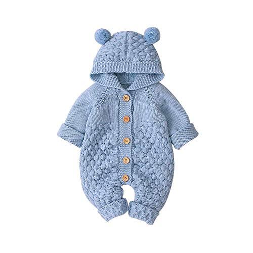 Bebé Recién Nacido Mono Unisex de Punto para Niños Niñas Mameluco Ropa Suéter Invierno Cálido con Diseño Infantil de Oreja Oso en Capucha Traje de Una Pieza (Azul, 0-6 Meses)