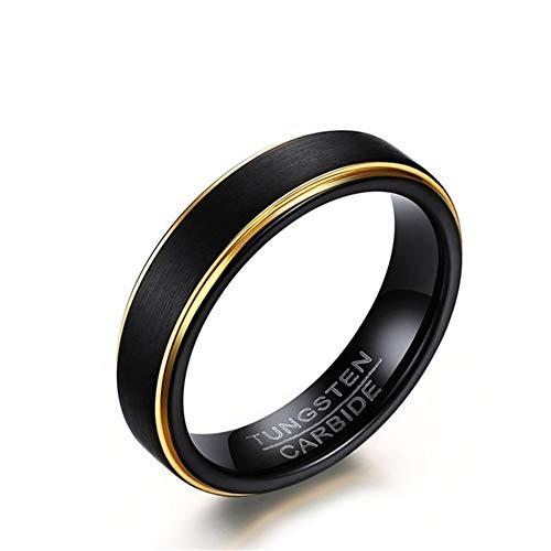 Ringe Herren Wolframstahl Zeichnen Schwarzgold-Ring Minimalismus Ehering Paar Geschenk,6