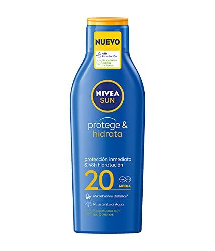 NIVEA SUN Protege & Hidrata Leche Solar FP20 (1 x 200 ml), protector solar hidratante y resistente al agua con protección UVA/UVB, protección solar media