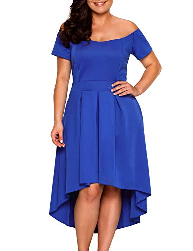 XAKALAKA Women's Plus Size Off Shoulder Pleated High Low Maxi Wedding Cocktail Dress Size 3XL (Blue)