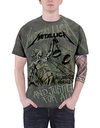 Metallica T Shirt Justice for all Neon Oficial de los hombres nuevo Gris All