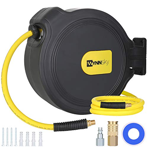 WYNNsky Retractable Air Compressor Hose Reel, 3/8 Inch × 50 Feet Hybrid Hose, Universal Coupler and Industrial Plug, 1/4 Inch Body, 1/4 Inch NPT, Swivel Mount Bracket