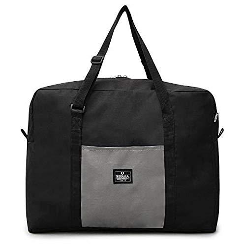 ボストンバッグ レディース メンズ ポケッタブル ナイロン素材 メンズバッグ 鞄 旅行バッグ 1泊 2泊 出張 海外旅行 大容量 軽量 折りたたみ コンパクト(ブラック)