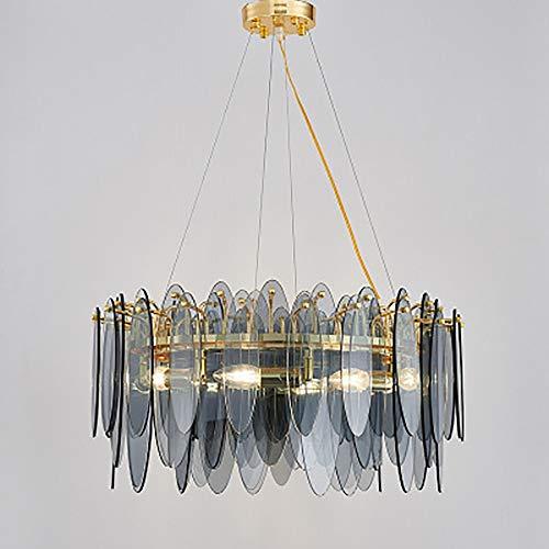 no-branded Sygjal Sala de Estar Minimalista lámpara de Cristal Creativo Ambiente de Lujo Personalidad Dormitorio de la lámpara de 60 cm de diámetro (Color : Smoke Gray)