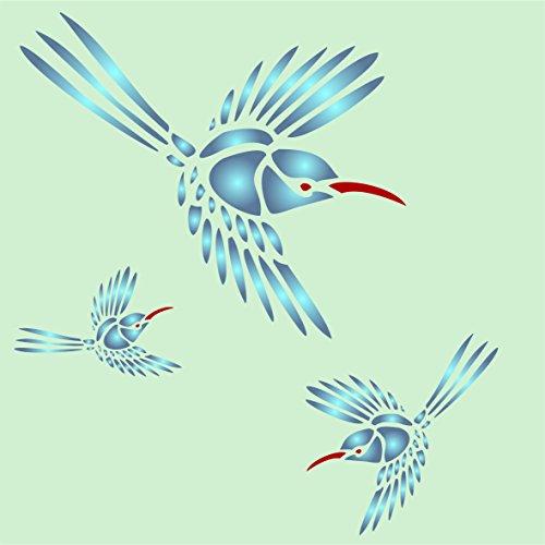 Kolibri Schablone–wiederverwendbar Schablonen für Malerei–Beste Qualität Wall Art Décor Ideen–Verwendung auf Wände, Böden, Stoffe, Glas, Holz, Terracotta, und mehr..., XS