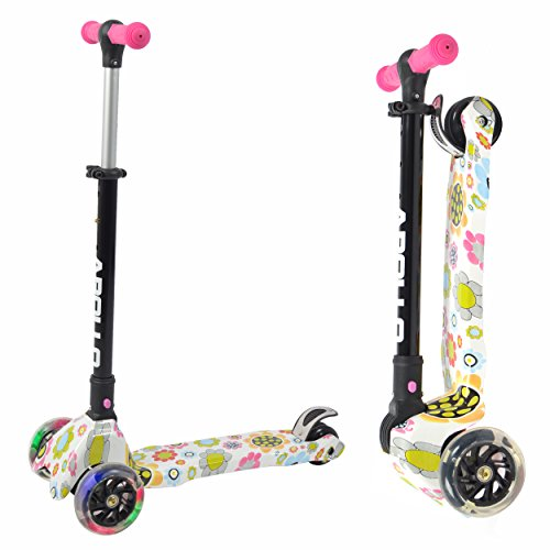 Apollo Scooter - Candy Racer LED - Big Wheel Scooter niños a Partir de 3 años, Kickboard-Scooter Plegable, Patinete de Carga máxima hasta 80kg con Manillar Ajustable en Altura y Ruedas de LED