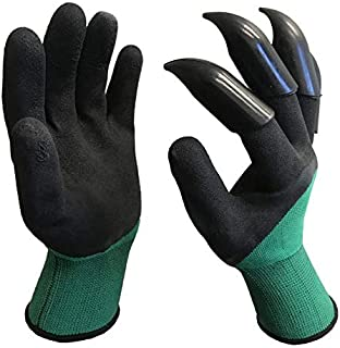 TRUEMAC 1 Pair Garden Genie Gloves with Eagle Fingertip Claws on Right Hand (Black with Green Sleeve)
