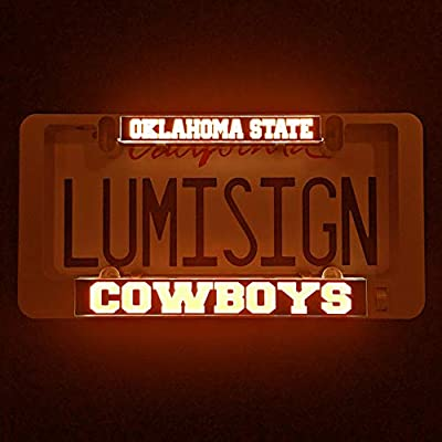 LumiSign – The Auto Illuminated License Plate Frame | Lights Up While You Brake | Installs in Seconds | No Wires, Battery Operated | Interchangeable Inserts (Oklahoma State)
