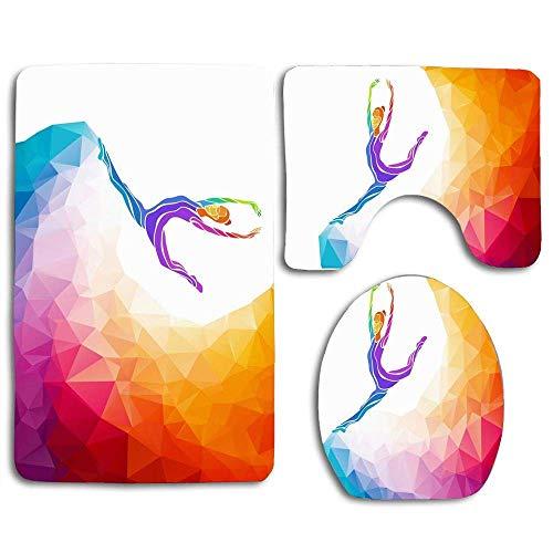 Aerobic Creative Gymnastic Girl Gymnast Slim Sports Recreación Persona sana Diseño abstracto Alfombra de baño Alfombrilla Juego de 3 piezas, antideslizante Tapa del asiento del inodoro Alfombra de bañ