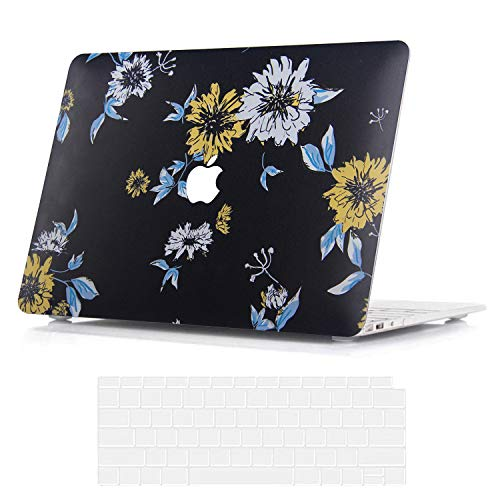 BELK MacBook Air 13 inch Case 2020 2019 2018 Release with Retina Display & Touch ID Model A2337 M1 A2179 A1932, Slim Plastic Printing Pattern Hard Shell Protective Cover with Keyboard Cover, Flower