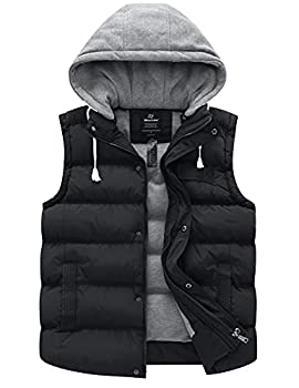Wantdo Women s Water Resistant Quilted Warm Puffer Vest with Hood Black Large