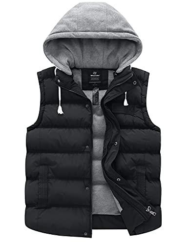 Wantdo Women's Insulated Winter Puffer Vest Hooded Sleeveless Coat Black Medium