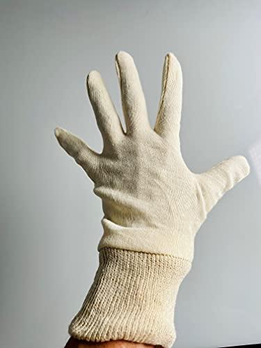 Baumwollhandschuhe 5 Paar mit Bund aus ungebleichter Baumwolle, wiederverwendbar, waschbar