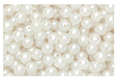 15 Perles nacrées blanche 2 trous à enfilé scrapbooking 6 mm décoration bijoux loisirs créatif scrapbooking