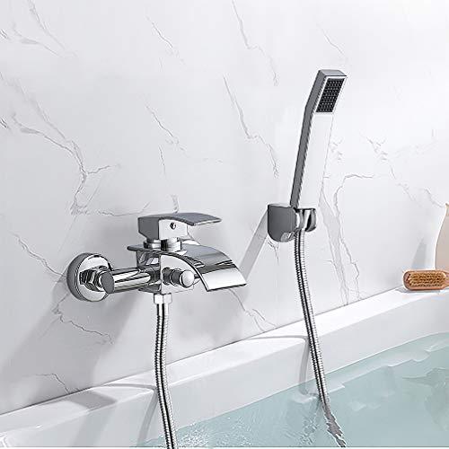Auralum Bad Wannenarmatur Badarmatur Duscharmatur mit Handbrause, Einhand Wannenbatterie Dusche Wannenmischer Duschset Duschsystem, inkl. Wandhalterung, Wasserfall Armatur und Brause