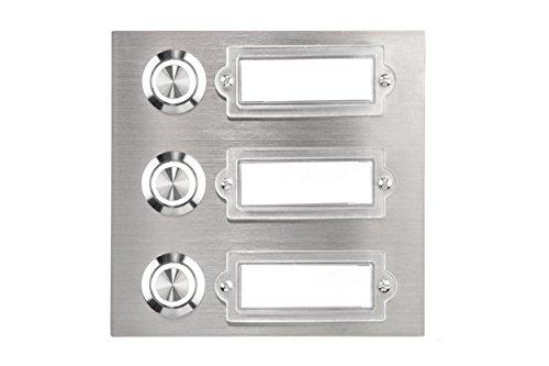 HUBER LED Klingeltaster 12781, 3-fach unterputz, rechteckig, Edelstahl, LED Lichtfarbe kalt weiß