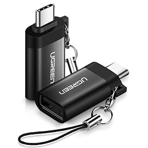 UGREEN USB C Adapter USB 3.0 OTG Adapter 2 Stück USB C auf USB 3.0 Adapter unterstützt für MacBook Pro, Samsung S9 S8 A5, Huawei P20 Mate10 pro P10, LG G6 G5, HTC U11 usw. Alulegierung Schwarz
