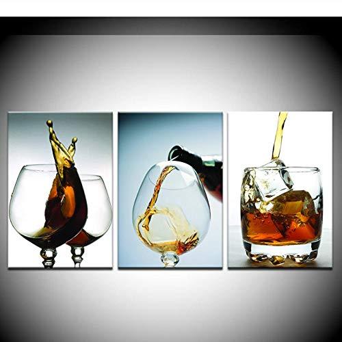 Terilizi 3 panelen modern vintage keuken wijnglas muurschildering kunst modulaire afbeelding op canvas voor Ome Decor-50X75Cmx3 geen lijst