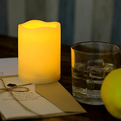 Waterproof Outdoor Battery Operated Flameless LED Pillar Candles with Timer Flickering Plastic Resin Electric Night Lights Lantern Patio Garden Home Decor Party Wedding Decorations