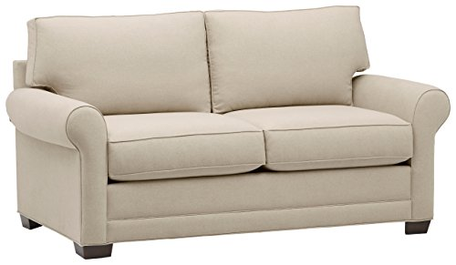 "Amazon Brand – Stone & Beam Kristin Mid-Century Wood-Framed Sleeper Sofa, 76""W, Sand"