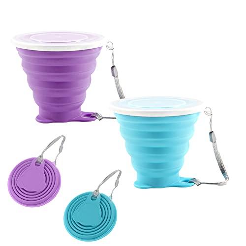 Faltbare Tasse Silikon 2 Stück Versenkbare Zusammenklappbare Reisebecher Faltbecher Camping Reise Klappbecher mit Deckel für Camping-Wanderungen Im Freien(Blue Purple)
