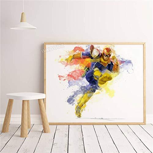 SDFSD 3D Aquarell Klassisches Cartoon-Spiel Nette lustige Figur Poster Tier Wandkunst Wohnkultur Kinderzimmer Kinderzimmer Leinwand Malerei 30 * 40cm H.