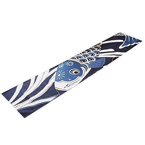ROUSIER Camino De Mesa Estilo Japonés, Patrón De Calamar Patrón, De Algodón Y Lino, para Decoración del Hogar,30 * 150cm