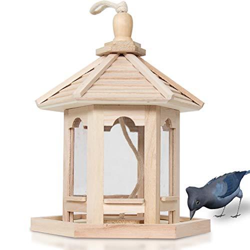 BESTCZ Vogelfutterspender Holz Vogelfutterspender Hausform Hängende Wildvogel-Futterspender Transparent Futterspender DIY Malerei Vogelfutterstation Vogelfutterbehälter für Outdoor Garten