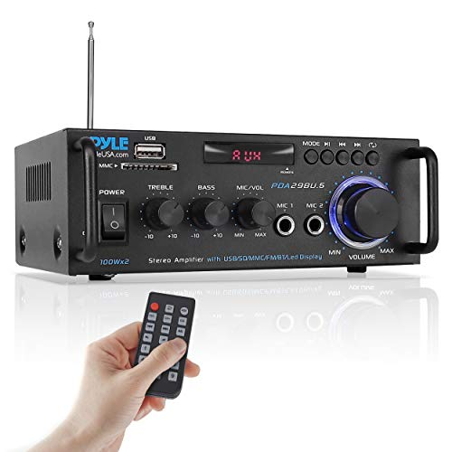 Pyle Wireless Bluetooth Stereo Power Amplifier - 200W 2 Channel Audio Stereo Receiver USA Warranty w/RCA, USB, SD, MIC in, FM Radio, for Home Theater Entertainment via RCA, Studio Use - Pyle PDA29BU