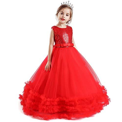 NNJXD Mädchen ärmellose Blume Prinzessin Pailletten Festzug Kleider Kinder Prom Ballkleid Größe (120) 4-5 Jahre 705 Rot-A